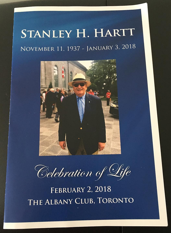 programme with photo: Stanley H. Hartt, November 11, 1937–January 3, 2018; Celebration of Life, February 2, 2018, The Albany Club, Toronto