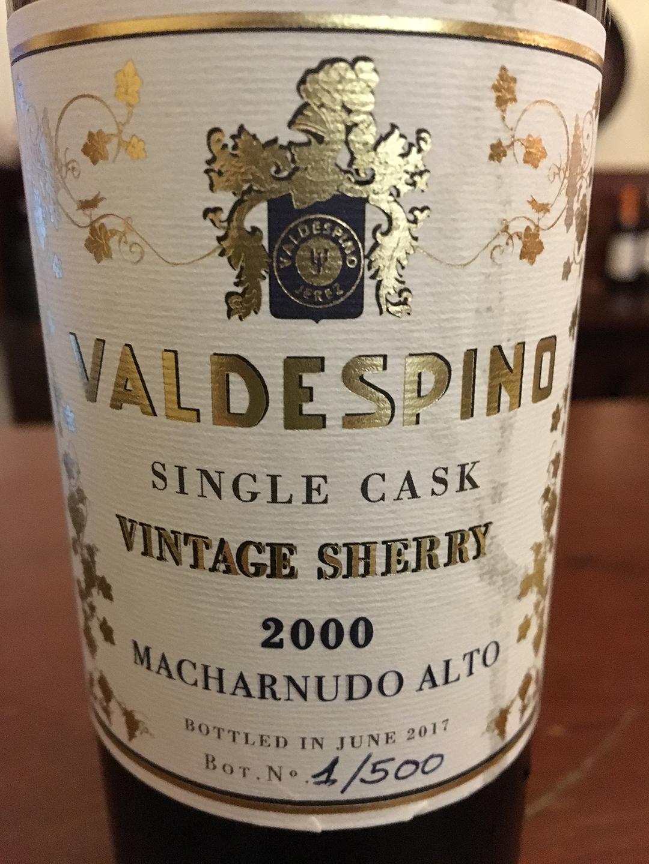 Valdespino Single Cask Vintage Sherry 2000