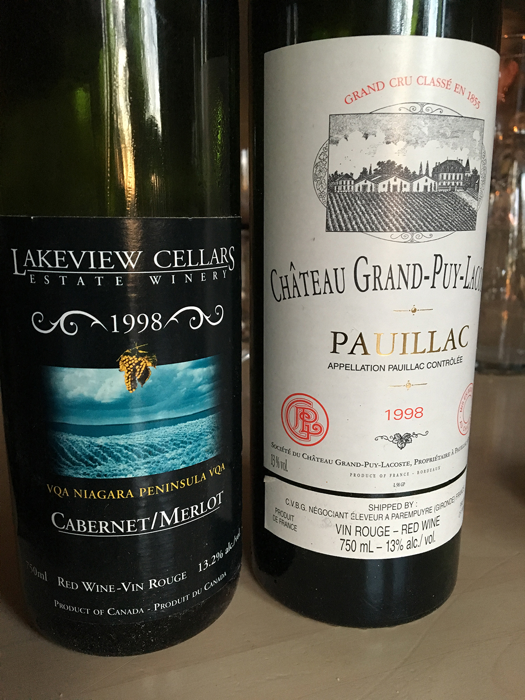Lakeview Cellars Cabernet/Merlot 1998 and Château Grand-Puy-Lacoste 1998