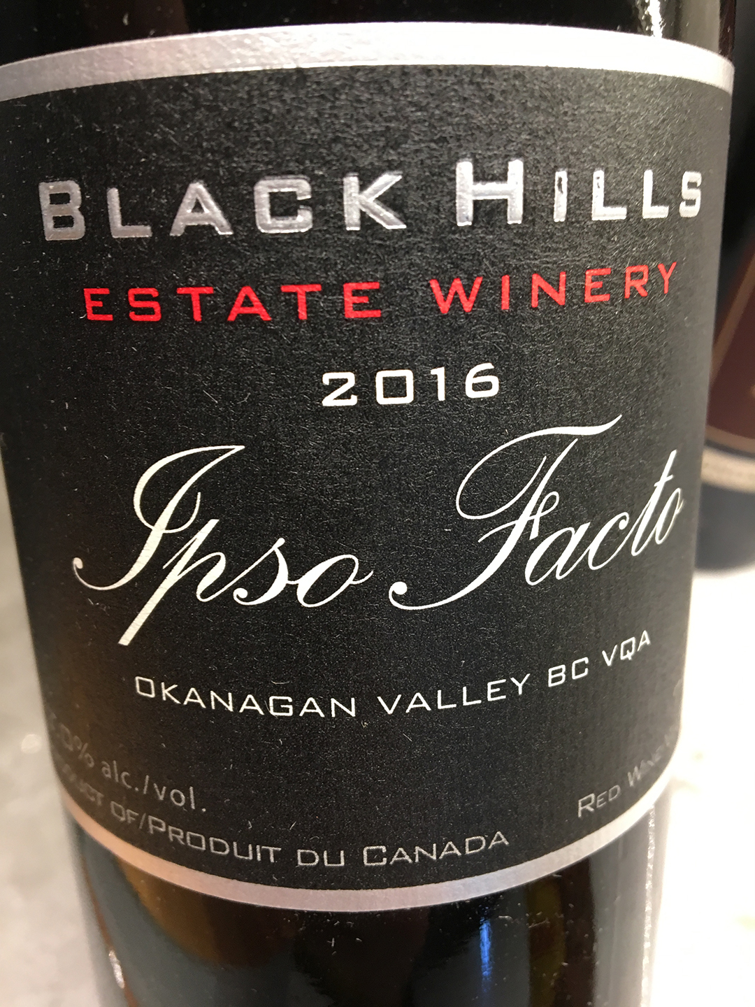 Black Hills Estate Winery Ipso Facto 2016