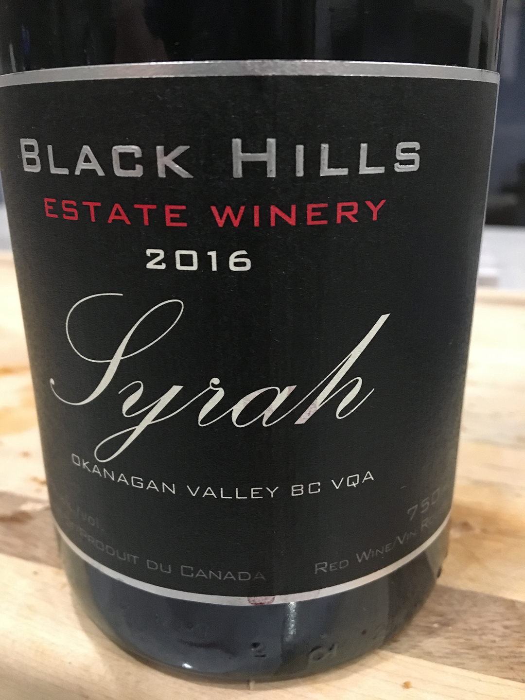 Black Hills Estate Winery Syrah 2016