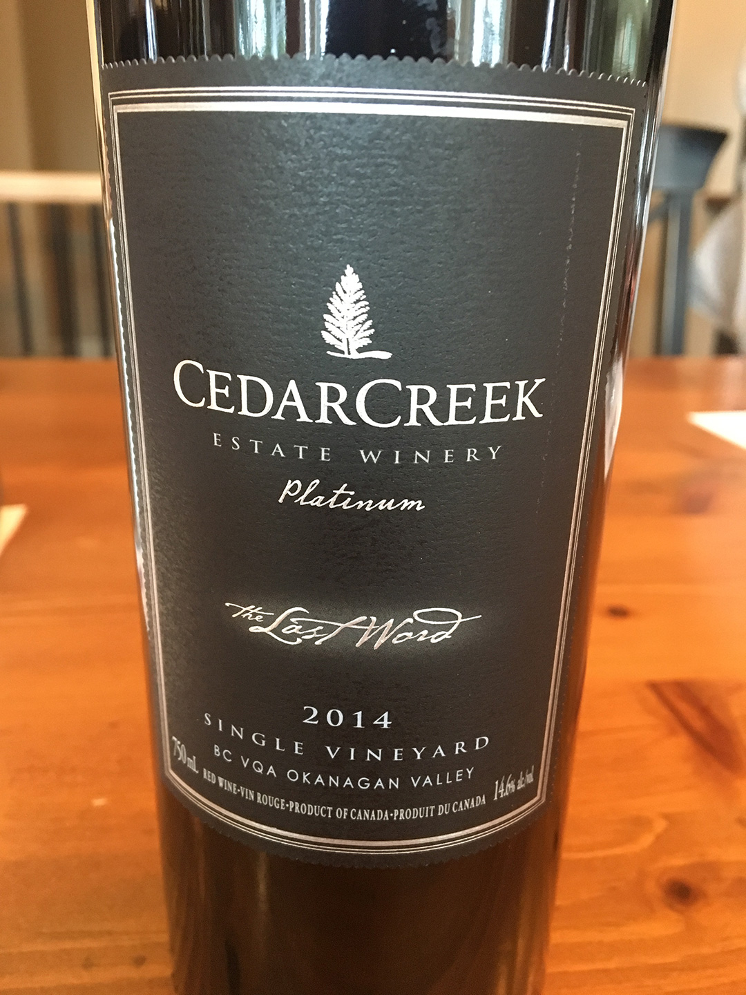 CedarCreek Estate Platinum The Last Word 2014