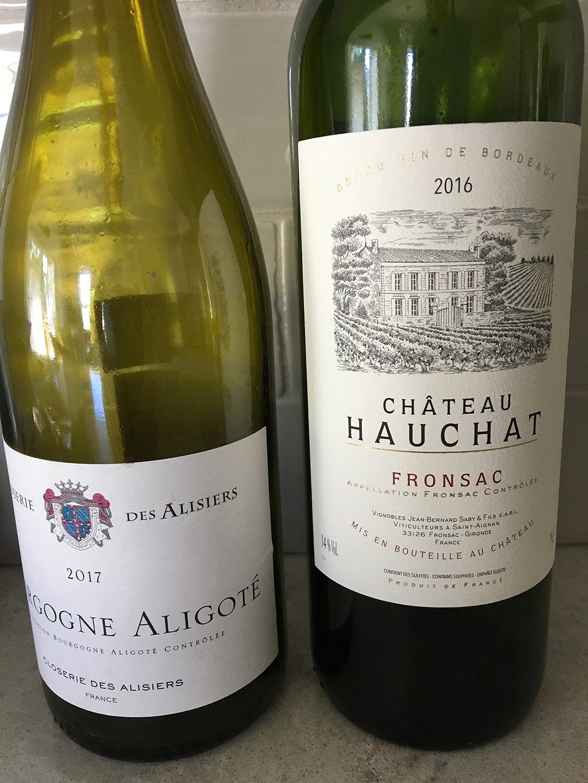 Closerie des Alisiers Bourgogne Aligoté 2017 and Château Hauchat 2016