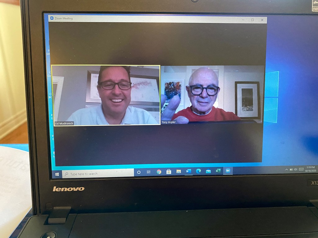 A photo of a computer screen showing a Zoom meeting between Ed and Tony